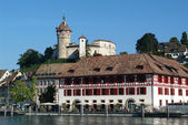 The old town of Schaffhausen and the Rhine River — Stock Photo