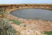 Saline lake on Socotra island — Stock Photo
