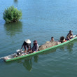 Canoeing on the Mekong River in Laos at Don khon — Stock Photo