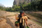 Farmer at the village of Ban Kong Lo in Laos — Stock Photo
