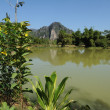 rurale landschap in de buurt van vang vieng over laos — Stockfoto