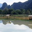Stock Photo: Rural landscape near Vang Vieng on Laos