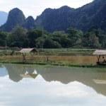 paesaggio rurale vicino a vang vieng sul laos — Foto Stock