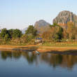 River landscape near Vang Vieng on Laos — Stockfoto