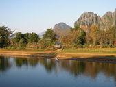 River landscape near Vang Vieng on Laos — Stock Photo