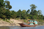 Merchant ship on Mekong River in Laos — Stock Photo