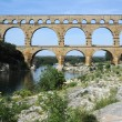 Roman bridge of Gard on France - Stock Photo