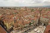 Overview at the market square of Erbe at Verona on Italy — Stock Photo