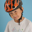 Boy with bike helmet — Stock Photo
