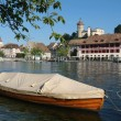 Boat on river rhine at Schaffhausen — Stock Photo