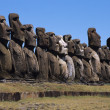 The beautiful Moai statues of Easter Island in the South Pacific - Stok fotoğraf