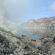 Sulphatic lake in a crater of volcano Ijen. Java. Indonesia — Stock Photo #27558515