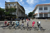 Indonesian bicycles for rent in Jakarta, Java, Indonesia. — Stock Photo