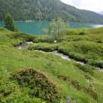 Lago de la majestuosa montaña en los Alpes suizos — Foto de Stock