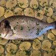Bream fish and potatoes — Stock Photo