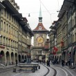 Stock Photo: Alley to clock tower at Bern on Switzerland