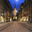 Alley to clock tower at Bern on Switzerland — Stock Photo