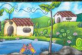 Muurschildering op een huis op ataco in el salvador — Stockfoto