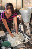 Girl knead tortilla paste at Suchitoto — Stock Photo