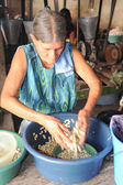 Woman knead corn for tortilla paste at Suchitoto — Stock fotografie