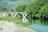 Stone bridge over Osum river at Berat — Foto de Stock
