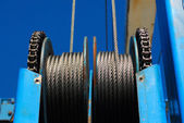 Steel cable pulleys — Stock Photo