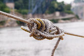 Tangled know in tightened rope. — Stock Photo