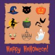 Set of Halloween symbols — Stockvectorbeeld