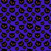Halloween seamless pattern: black cats — Stock Vector
