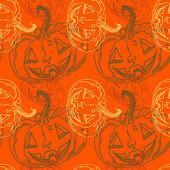 Naadloze halloween patroon met pompoenen — Stockvector