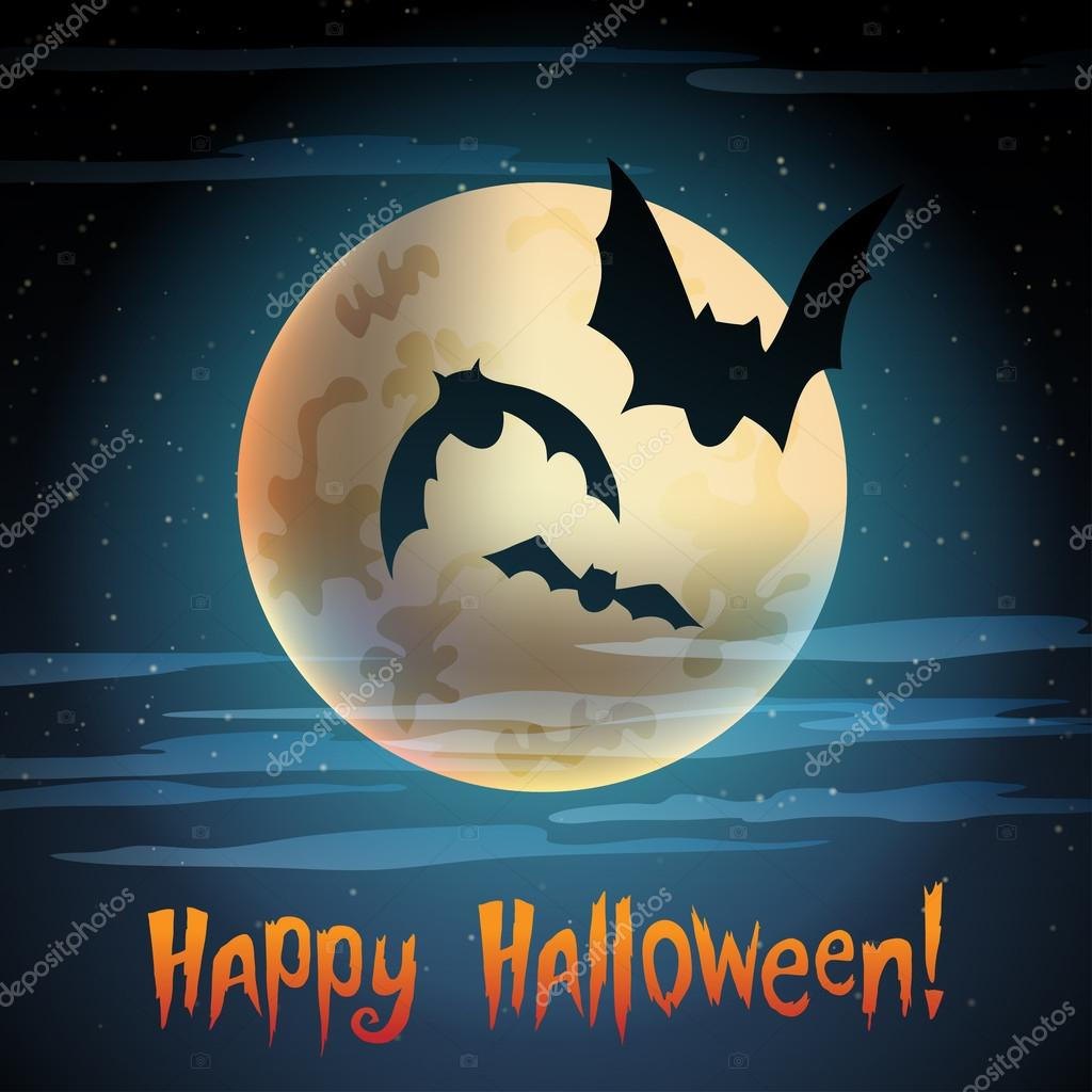 Illustration of moon with bats Happy halloween — Stock Vector #14138144