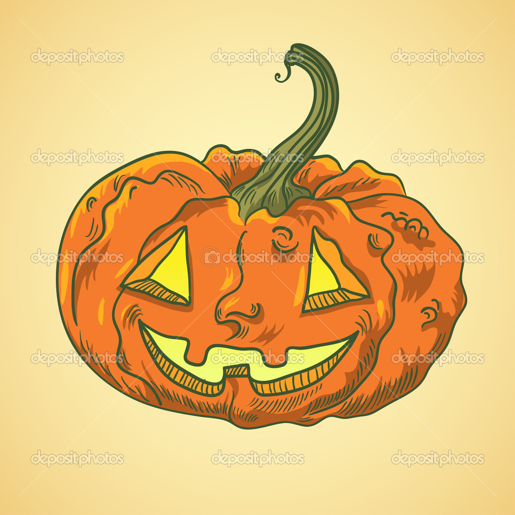 Detailed illustration of halloween pumpkin with face — Stock Vector #14138282