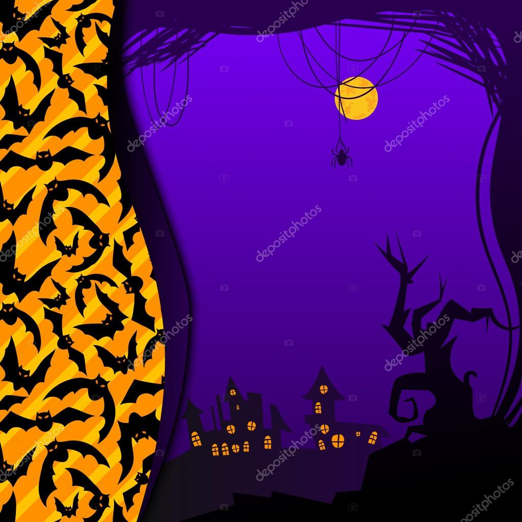 Halloween illustration with orange and violet colors: template, frame, card — Vektorgrafik #14138434