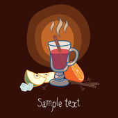 Illustration with a glass of mulled wine — Stock Vector