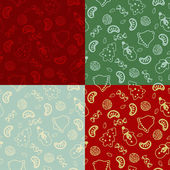 Set of four seamless pattern with Christmas food — Stockvektor
