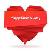 Origami paper heart with message: Happy Valentine's day — Stockvector