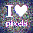 """I love pixels"" illustration. White noise background — Stock Vector #18281413"