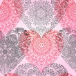ストックベクタ: Seamless pattern with lace hearts