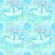 Seamless funny pattern with anchors and paper ships — Stock Vector