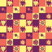 Seamless patchwork pattern with leaves and flowers — Stock Vector