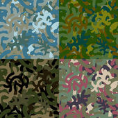 Set of four seamless camouflage patterns — Stock Vector