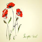 Grunge elegance artistic illustration of red poppies — Stockvektor
