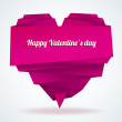 Origami paper heart with message: Happy Valentine's day - Stock Vector