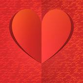 Papper hjärta med guld handwrite mönster — Stockvektor