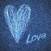 Valentijn jeans grunge hart achtergrond — Stockvector