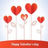 Na moda ilustração de cinco corações vermelhos como flores — Vetor de Stock
