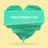Origami paper heart with message: Happy Valentine's day — Vecteur