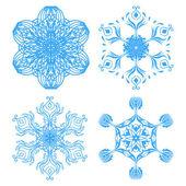 Collection of four elegance snowflakes — Stockvektor