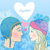 Romantic winter illustration of young couple — Vector de stock