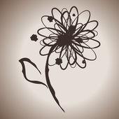 Grunge elegance ink splash illustration with daisy or gerbera flower — Stock Vector